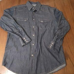 Pendleton Hitch Denim Pearl Snap Front Shirt Med